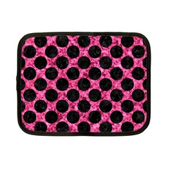 Circles2 Black Marble & Pink Marble (r) Netbook Case (small) by trendistuff