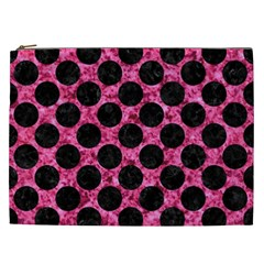 Circles2 Black Marble & Pink Marble (r) Cosmetic Bag (xxl) by trendistuff