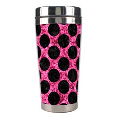 Circles2 Black Marble & Pink Marble (r) Stainless Steel Travel Tumbler by trendistuff