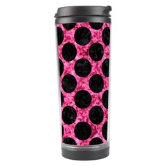 Circles2 Black Marble & Pink Marble (r) Travel Tumbler by trendistuff