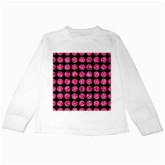 Circles1 Black Marble & Pink Marble Kids Long Sleeve T Shirt