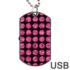 Circles1 Black Marble & Pink Marble Dog Tag Usb Flash (two Sides) by trendistuff