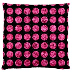 Circles1 Black Marble & Pink Marble Large Flano Cushion Case (one Side) by trendistuff