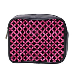 Circles3 Black Marble & Pink Marble Mini Toiletries Bag (two Sides) by trendistuff