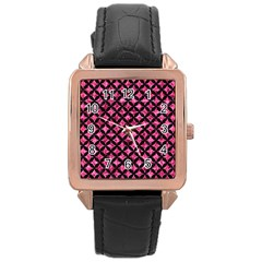 Circles3 Black Marble & Pink Marble (r) Rose Gold Leather Watch