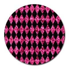Diamond1 Black Marble & Pink Marble Round Mousepad by trendistuff