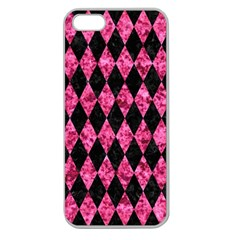 Diamond1 Black Marble & Pink Marble Apple Seamless Iphone 5 Case (clear) by trendistuff