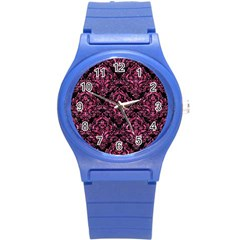 Damask1 Black Marble & Pink Marble Round Plastic Sport Watch (s) by trendistuff