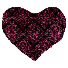 Damask1 Black Marble & Pink Marble Large 19  Premium Flano Heart Shape Cushion by trendistuff
