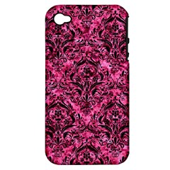 Damask1 Black Marble & Pink Marble (r) Apple Iphone 4/4s Hardshell Case (pc+silicone) by trendistuff