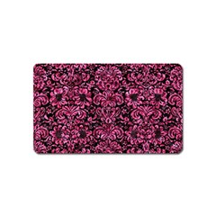 Damask2 Black Marble & Pink Marble Magnet (name Card) by trendistuff
