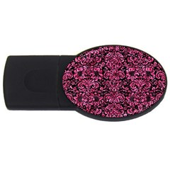 Damask2 Black Marble & Pink Marble Usb Flash Drive Oval (4 Gb) by trendistuff