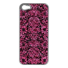 Damask2 Black Marble & Pink Marble Apple Iphone 5 Case (silver) by trendistuff