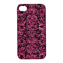 Damask2 Black Marble & Pink Marble Apple Iphone 4/4s Hardshell Case With Stand by trendistuff