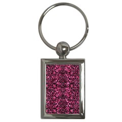 Damask2 Black Marble & Pink Marble (r) Key Chain (rectangle) by trendistuff