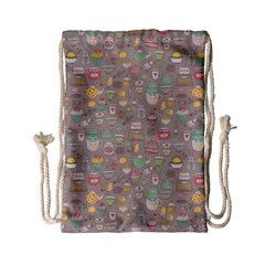Tea Party Pattern Drawstring Bag (small) by Mishacat