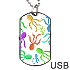Octopuses Pattern Dog Tag Usb Flash (one Side) by Valentinaart