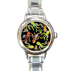 Octopuses Pattern 2 Round Italian Charm Watch by Valentinaart
