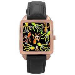 Octopuses Pattern 2 Rose Gold Leather Watch  by Valentinaart