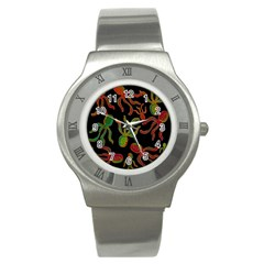 Octopuses Pattern 4 Stainless Steel Watch by Valentinaart