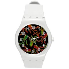 Octopuses Pattern 4 Round Plastic Sport Watch (m) by Valentinaart