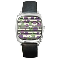 Purple And Green Elegant Pattern Square Metal Watch by Valentinaart