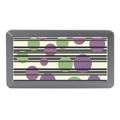 Purple And Green Elegant Pattern Memory Card Reader (mini) by Valentinaart