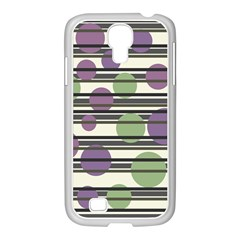 Purple And Green Elegant Pattern Samsung Galaxy S4 I9500/ I9505 Case (white) by Valentinaart