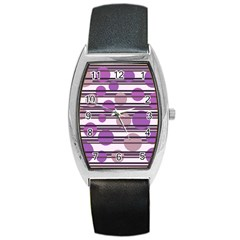 Purple Simple Pattern Barrel Style Metal Watch by Valentinaart