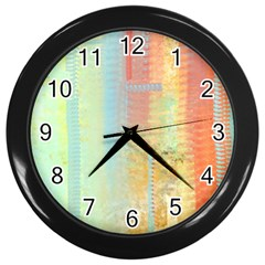 Unique Abstract In Green, Blue, Orange, Gold Wall Clocks (black) by digitaldivadesigns