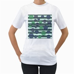 Green Simple Pattern Women s T Shirt (white) (two Sided) by Valentinaart