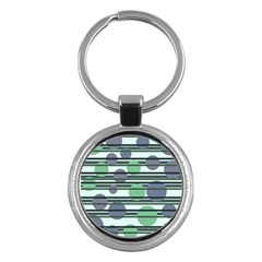 Green Simple Pattern Key Chains (round)  by Valentinaart