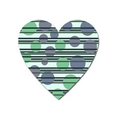 Green Simple Pattern Heart Magnet by Valentinaart