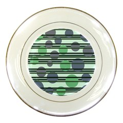 Green Simple Pattern Porcelain Plates by Valentinaart