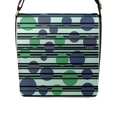 Green Simple Pattern Flap Messenger Bag (l)  by Valentinaart