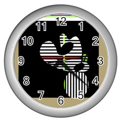 Abstract Art Wall Clocks (silver)  by Valentinaart