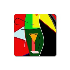Abstract Lady Square Magnet
