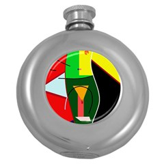 Abstract Lady Round Hip Flask (5 Oz)