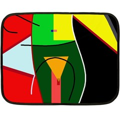Abstract Lady Double Sided Fleece Blanket (mini)  by Valentinaart