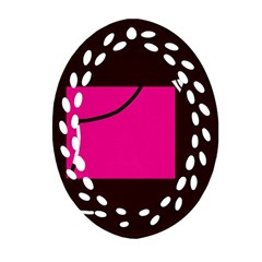 Pink Square  Ornament (oval Filigree)  by Valentinaart