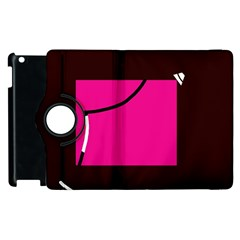 Pink Square  Apple Ipad 3/4 Flip 360 Case by Valentinaart