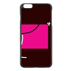 Pink Square  Apple Iphone 6 Plus/6s Plus Black Enamel Case by Valentinaart
