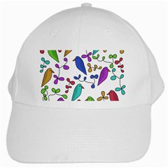 Birds And Flowers White Cap by Valentinaart