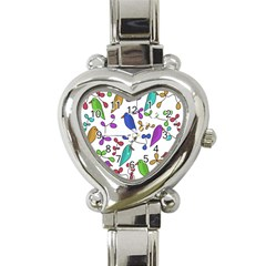 Birds And Flowers Heart Italian Charm Watch by Valentinaart