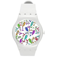 Birds And Flowers Round Plastic Sport Watch (m) by Valentinaart