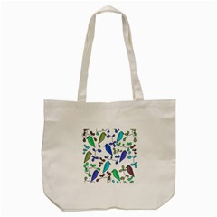 Birds And Flowers   Blue Tote Bag (cream) by Valentinaart