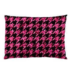 Houndstooth1 Black Marble & Pink Marble Pillow Case (two Sides) by trendistuff