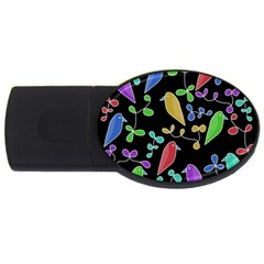 Birds And Flowers 2 Usb Flash Drive Oval (2 Gb)  by Valentinaart
