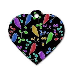 Birds And Flowers 2 Dog Tag Heart (one Side)