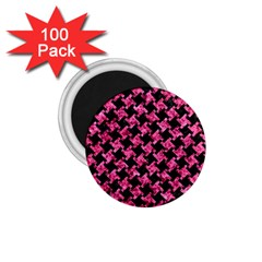Houndstooth2 Black Marble & Pink Marble 1 75  Magnet (100 Pack)  by trendistuff